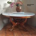 Meja makan bundar, Marmer antik, bisa putar tengah