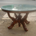 Meja marmer hijau bundar, diameter 125cm