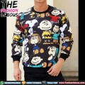 Sweater Pria Import - Black Snoopy Fullprint
