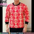 Sweater Pria Import - Red Batik Fullprint