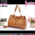 Tas Fashion Wanita - Brown Chain Rhombus Ribbon Bag