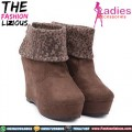 Sepatu Wanita Import - Brown Leopard Korean Style Boots