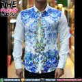 Kemeja Pria Import - White Abstract Blue