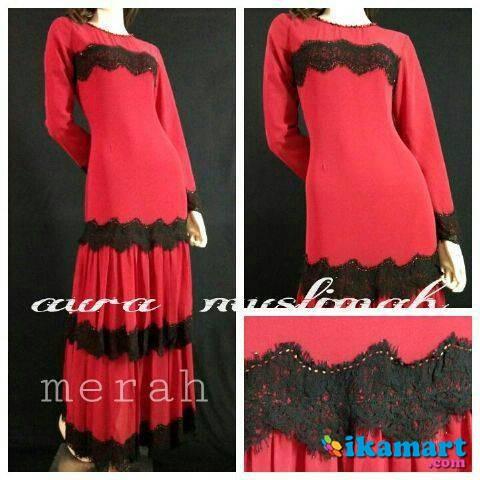 Alexandra Dress Merah Baju Wanita