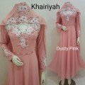 Gamis Khairiyah + shawl Dusty Pink