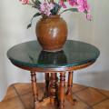Meja marmer hijau antik, Diameter 80cm