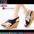 Sepatu Wedges Wanita Import - Red Wine BK228 Black