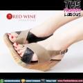 Sepatu Wedges Wanita Import - Red Wine BK228 Grey