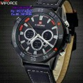 Naviforce Leather Double Time Black