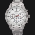 jam Seiko Chronograph SKS515P1 Silver Dial Red Hands Stainless Steel Brace