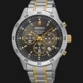 jam Seiko Chronograph SKS525P1 Black Dial Two Tone Gold Stainless Steel