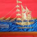 Pajangan Berbentuk Kapal Terbuat Dari Perak Solid Asli