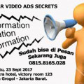 Tiket Seminar Video Ads Secrets 23 Sept 2017