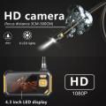 "JUAL inskam113 Boroscope 5m snake Hard Cable 4.3"" HD Screen 8mm Dual Lens"